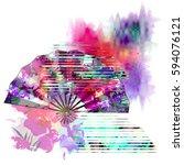 t shirt design with flowers ... | Shutterstock . vector #594076121