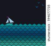 vector banner with waves ...   Shutterstock .eps vector #594077735
