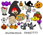 halloween cartoon elements ... | Shutterstock . vector #59407777