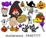 halloween cartoon elements ... | Shutterstock . vector #59407777