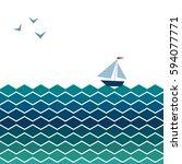 vector banner with waves ... | Shutterstock .eps vector #594077771