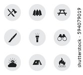 set of 9 editable trip icons.... | Shutterstock .eps vector #594079019
