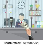 bank teller behind window. hand ... | Shutterstock .eps vector #594080954
