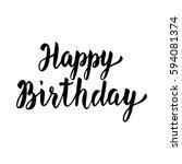 happy birthday hand drawn... | Shutterstock .eps vector #594081374