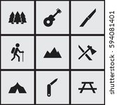 set of 9 editable travel icons. ... | Shutterstock .eps vector #594081401