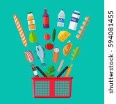 red plastic shopping basket... | Shutterstock .eps vector #594081455