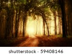 road through a golden forest at ... | Shutterstock . vector #59408146