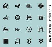set of 16 editable traffic... | Shutterstock .eps vector #594084491