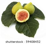 Fruit and fig leaf on a white background - stock photo