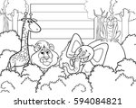 black and white cartoon... | Shutterstock .eps vector #594084821