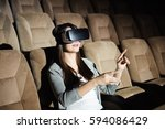 young girl with virtual reality ... | Shutterstock . vector #594086429