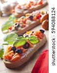 italian bruschetta with... | Shutterstock . vector #594088124
