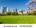 central park at spring sunny... | Shutterstock . vector #594090284