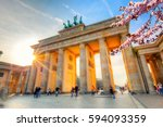 brandenburg gate at spring ... | Shutterstock . vector #594093359