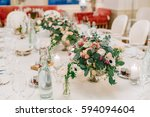 beautiful wedding table... | Shutterstock . vector #594094604