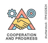 icon cooperation and progress... | Shutterstock .eps vector #594102824