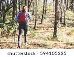 young woman traveller with... | Shutterstock . vector #594105335