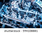 the powerful engine of a car.... | Shutterstock . vector #594108881