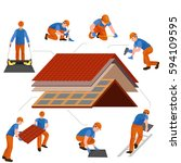 roof construction worker repair ... | Shutterstock .eps vector #594109595