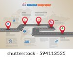 design template  road map... | Shutterstock .eps vector #594113525