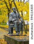 Small photo of SVETLOGORSK, RUSSIA - OCTOBER 26, 2016: A monument to the academician I. P. Pavlov against the background of autumn trees