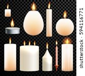 candles flames set 3d realistic ... | Shutterstock .eps vector #594116771