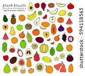 big collection of hand drawn... | Shutterstock .eps vector #594118565