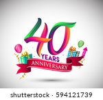 40th anniversary celebration... | Shutterstock .eps vector #594121739