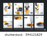 Business vector set. Brochure template layout, cover design annual report, flyer in A4 with yellow geometric shapes for PR, business, tech on bright background. Abstract creative design. | Shutterstock vector #594121829