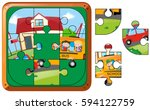 jigsaw puzzle game with kids on ... | Shutterstock .eps vector #594122759