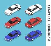 flat 3d isometric car  city... | Shutterstock .eps vector #594129851