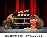 retro film production... | Shutterstock . vector #594132761