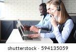 portrait of call center worker... | Shutterstock . vector #594135059