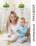 delighted mother and her little ... | Shutterstock . vector #594138329