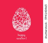 vector easter card. egg doodle... | Shutterstock .eps vector #594140465