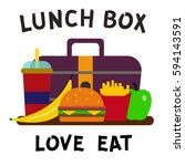 school lunch bags with... | Shutterstock .eps vector #594143591