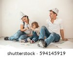 the family is doing repairs in... | Shutterstock . vector #594145919