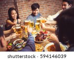 people in asian are celebrating ... | Shutterstock . vector #594146039