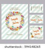 wreath wedding invitation | Shutterstock .eps vector #594148265