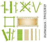 bamboo  set of bamboo sticks.... | Shutterstock .eps vector #594152819