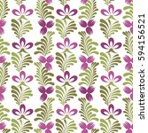 seamless background with floral ... | Shutterstock .eps vector #594156521