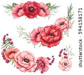 Set Of Watercolor Bouquets Wit...
