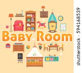 baby room set with furniture....   Shutterstock .eps vector #594168539