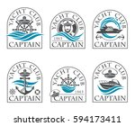 nautical collection of emblems... | Shutterstock .eps vector #594173411
