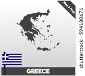 greece map and flag with flat...   Shutterstock .eps vector #594180671