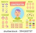 flat women avatar constructor... | Shutterstock .eps vector #594183737