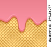 ice cream melted on yellow... | Shutterstock .eps vector #594186077
