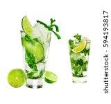 a mojito cocktail | Shutterstock . vector #594193817