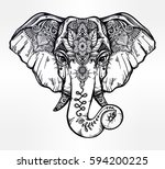 vintage style vector elephant... | Shutterstock .eps vector #594200225