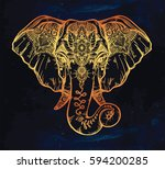 vintage style vector elephant... | Shutterstock .eps vector #594200285